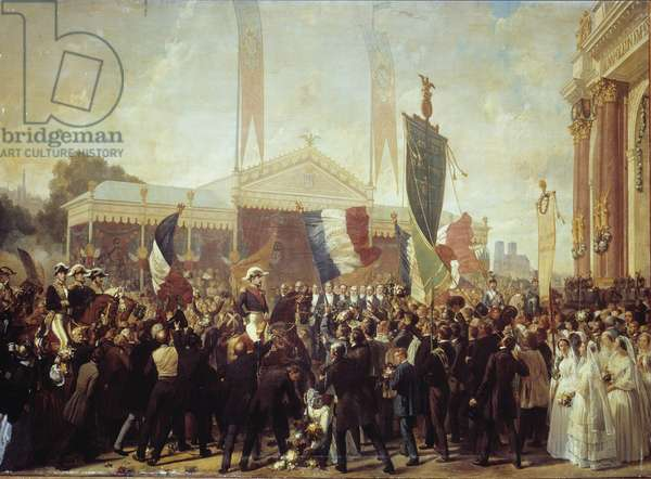 Triumphant Entrance of Prince President Louis Napoleon Bonaparte (1808-1873) in Paris October 17, 1852 Painting by Charles Philippe Lariviere (1798-1876), 1852 Sun. 3,45 x 5,02 m. Versailles castle museum