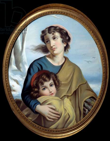 Allegory of winter A mother protecting her child to warm her up. Anonymous painting. 18th century. Rouen, Museum of Fine Arts