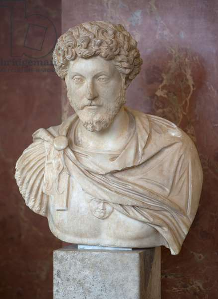 Art Rome Bust of the Roman Emperor Mark Aurele (121 - 180 AD) marble