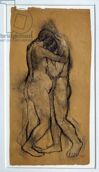 Study for embrace. Drawing by Pablo Picasso (1881-1973), 1903. Lead mine and scraping. Dim: 0.34 x 0.17m. Paris, Musee Picasso.