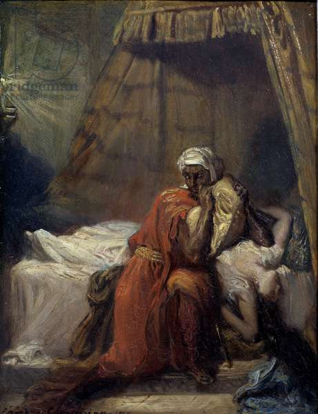 """Desdemone's death. Illustration of """"Othello or the Moor of Venice"""" (Othello, the Moor of Venice) tragedie by William Shakespeare (1604). Painting by Theodore Chasseriau (1819 - 1856), 1841. Metz, Museum of Fine Arts"""