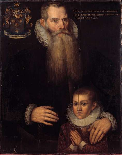 Portrait of Charles de Conde (1535-1602) and his son John in 1592 Painting of the Flemish School of the 17th century. Dim 0.81 x 0.64 m. Versailles, Musee des chateaux de Versailles et Trianon