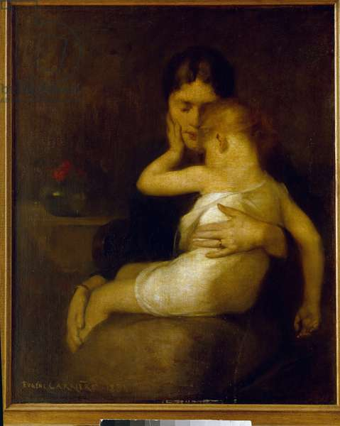 L'Enfant malade (Madame Eugene Carriere and son Leon) Painting by Eugene Carriere (1849-1906) 1885 Sun. 1x0,8 m Paris, musee d'Orsay