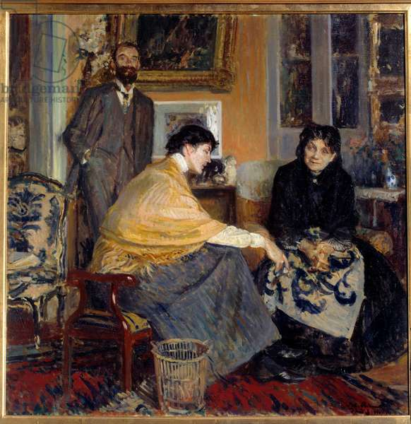 Mrs. Ludovic Halevy, her son the writer Elie Halevy (1870-1937) and Florence Halevy Painting by Jacques Emile (Jacques-Emile) Blanche (1861-1942) 20th century Private Collection