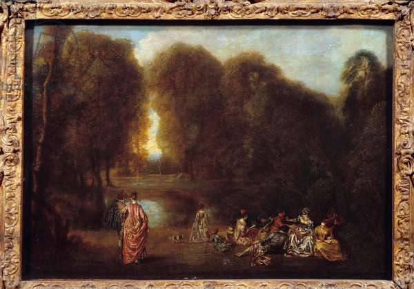 Assembled in a park Painting by Jean Antoine Watteau (1684-1721), 18th century. Sun. 0,32x0,46 m Musee du Louvre.