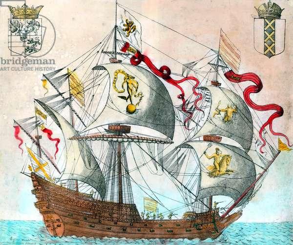 Spanish ship of the 16th century. engraving of the 16th century. BN, Paris.