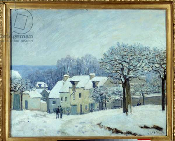 La place du kennel a Marly, Effect of Snow Painting by Alfred Sisley (1839-1899) 1876 Dim. 0,5x0,61 m Rouen, Musee des Beaux Arts