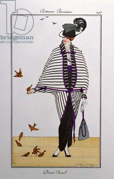 Half mourning. Parisian costumes: Portrait of a woman wearing a dress called half mourning and feeding birds, 1913 (illustration)