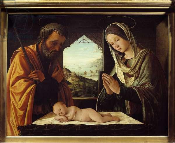 Nativite wood painting by Lorenzo Costa (1460-1535) 1490 Dim. 0,65x0,85 m Lyon, Musee des Beaux Arts