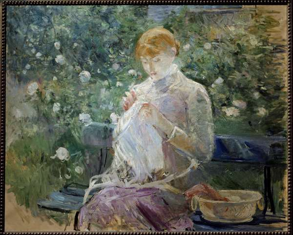 Pasie sewing in the garden a Bougival Painting by Berthe Morisot (1841-1895) 1881 Sun. 0,81x1 m Pau, Musee des Beaux Arts