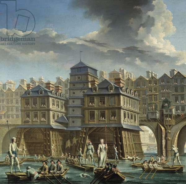 """detail of the painting: The Joute des mariniers between the Pont Notre-Dame and the Pont-au-Change"""" A nautical joust on the Seine in Paris. Painting by Nicolas Jean Baptiste Raguenet (1715-1793) 1756 Paris, Musee Carnavalet"""