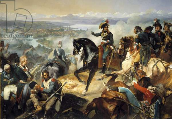 Battle of Zurich won by Andre Massena, September 25, 1799 on the Austro-Russian army of Alexander Souwaroff (Souvaroff or Suvorov or Alexander Suvorov) (1729-1800) Painting by Francois Bouchot (1800-1842) 1837 Sun. 0,61x0,69 m.  - Battle of Zurich won by Andre Massena, 25th September 1799, on the Austro-Russian army of Alexander Souwaroff (Souvaroff or Souvarov or Alexander Suvorov) (1729-1800). Painting by Francois Bouchot (1800-1842), 1837. 0.61 x 0.69 m. Versailles, Castles of Versailles and Trianon