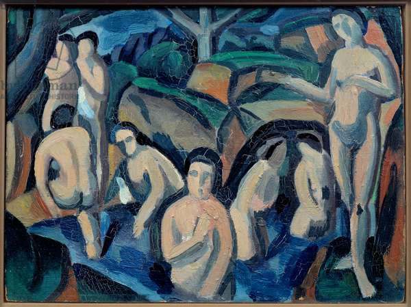 Bathers Painting by Andre Derain (1880-1954) 1908 Sun. 0,24x0,32 m Paris musee Picasso