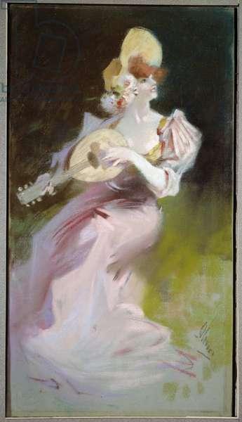 La woman a la mandolin Painting by Jules Cheret (1836-1932) 20th century Chalons sur Marne, Musee des Beaux Arts.