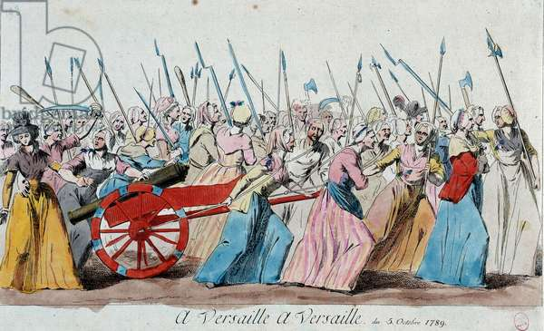 "French Revolution: ""The March of Women in Versailles on October 5, 1789"", 1789. Etching, aquatinte and maniere de laavis brown rouge anonymously. Sun. 15.1x26.7 Paris, Musee Carnavalet"