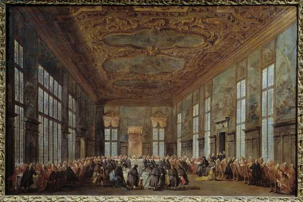 The Doge of Venice Alvise IV Mocinego (1701-1778) offers breakfast to ambassadors Painting by Francesco Guardi (1712-1793) 18th century Sun. 0,67x1,01 m Nantes, Museum of Fine Arts