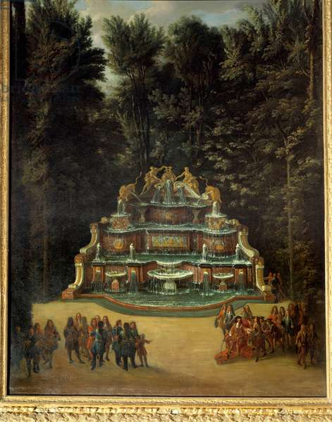 View of the fountain of the Water Buffet in the gardens of the Grand Trianon in 1713. In the foreground: Louis XIV at the Promenade Peinture de Charles Chatelain. 18th century. Dim. 2,96x1,42 m. Versailles, Castles of Versailles and Trianon