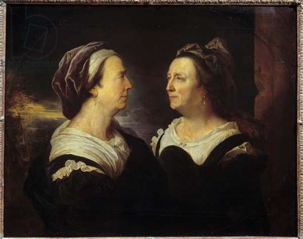Portrait of Mrs. Rigaud mother in two different attitudes. Double portrait of a woman in profile (left and right). Painting by Hyacinthe Rigaud (1659-1743) 1695 Sun. 0,83x1,03 m