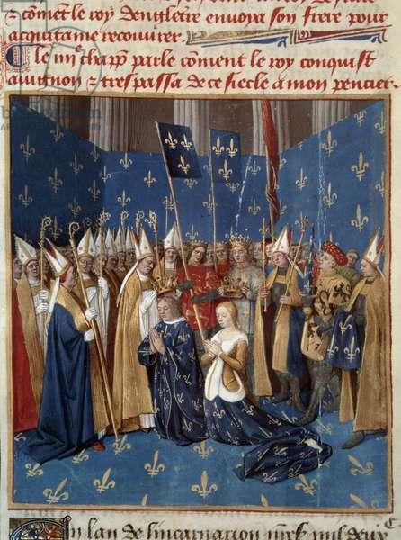 "Coronation of Louis VIII (1187-1226) and Blanche de Castille (1188-1252) in Reims in 1224 Miniature from the manuscript """" Les Grandes Chronicles de France"""" by Jean Fouquet (1420-1481) 15th century. Paris, B.N."