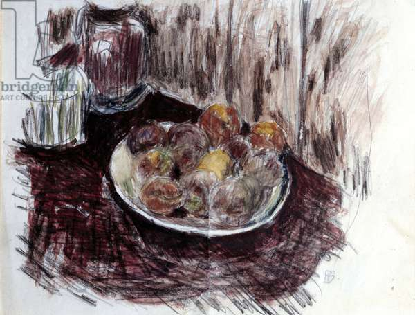 Still Life with Peches Painting by Pierre Bonnard (1867-1947) 20th century Private Collection