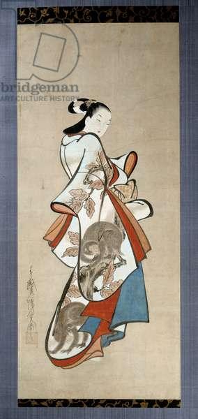 Courtesan Paradise. Japanese print by Kaigetsudo Ando (active between 1704 and 1736), Ukiyo-E style. London, British Museum