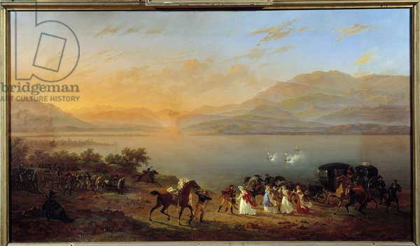 Attack of Josephine de Beauharnais's car, Madame Bonaparte, on the shores of Lake Garda, by Austrian Boats, July 30, 1796 Painting by Hippolyte Lecomte (1781-1857) 1806 Sun. 1,11x1,92m. Versailles, castle museum