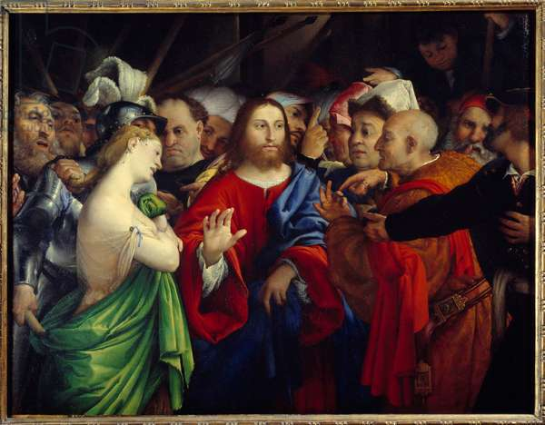 Christ and adulterous woman. Painting by Lorenzo Lotto (1480-1556), 16th century. Oil on canvas. Dim: 1,24 x 1,56m. Paris, Musee Du Louvre - Christ and the Woman Taken in Adultery. Painting by Lorenzo Lotto (1480-1556), 16th century. Oil on canvas. 1,24 x 1,56 m. Louvre Museum, Paris, France