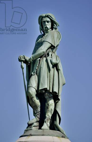 Colossal statue of Vercingetorix (72-46 BC), Gallic leader - Sculpture of Millet Aime (1819-1891) 6.60 m tall erige in 1865 on the western part of Mont Auxois (base 7 m high by Viollet Le Duc) Alise Sainte Reine 1865