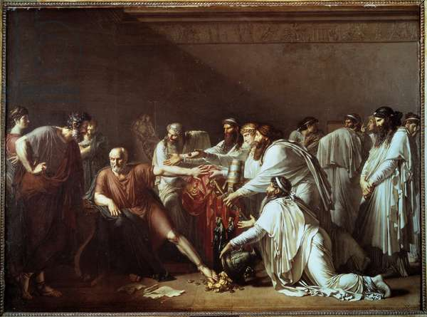 """Hippocrates refusing the presents of Artaxerxes The Greek doctor Hippocrates """"the Great"""" or Hippocrates of Cos (460-370 BC) refuses to treat Artaxerxes II Mnemon, king of Persia and Pharaoh of Egypt, despite the important gifts he offers him. Painting by Anne Louis Girodet de Roucy-Trioson (Anne-Louis Girodet de Roucy Trioson, 1767-1824) 1814 Former academy of surgery, currently Faculty of Medicine"""