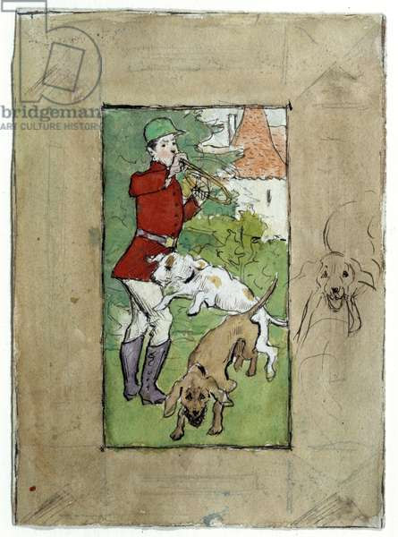 A Hunter with His Dogs Drawing by Pierre Bonnard (1867-1947) 20th century Private Collection