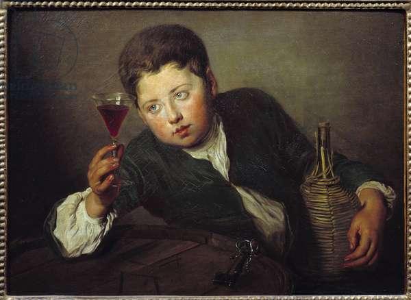 Le jeune degustateur Painting by Philippe Mercier (1689-1760) (ec.angl.) 18th century Sun. 0,5x0,67 m