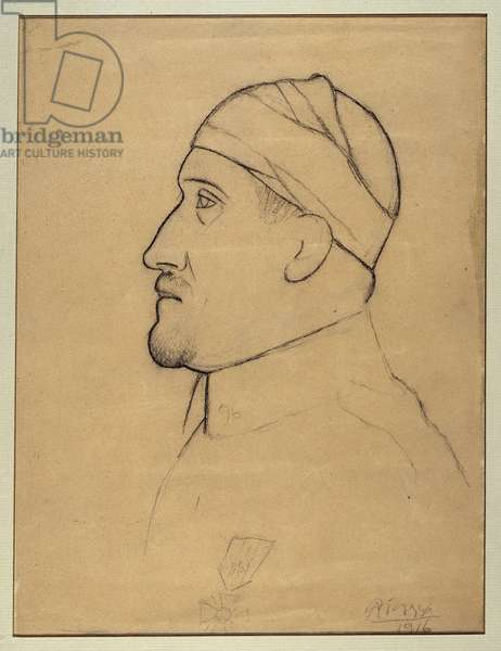Portrait of Guillaume Apollinaire (1880-1918) with the Bandee Head Black Stone Drawing by Pablo Picasso (1881-1973) 1916 Dim. 0.25 x 0.22 m. Paris. Picasso Museum