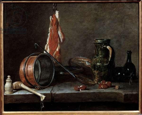 Fat menu and kitchen utensils. Still life. Painting by Jean Baptiste Simeon Chardin (1699-1779), 1731. oil on cardboard. Dim: 0.33 X 0.41m.
