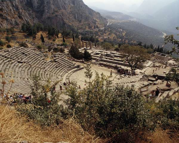 Ancient Greece: view of the theatre of Delphi. 4th century BC. Greece