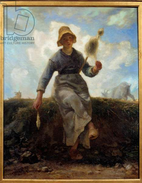 The spinner, auvergnate chevriere. Painting by Jean Francois Millet (1814-1875), 1868. Oil on canvas. Dim: 0.92 x 0.73m. Paris, Musee D'Orsay
