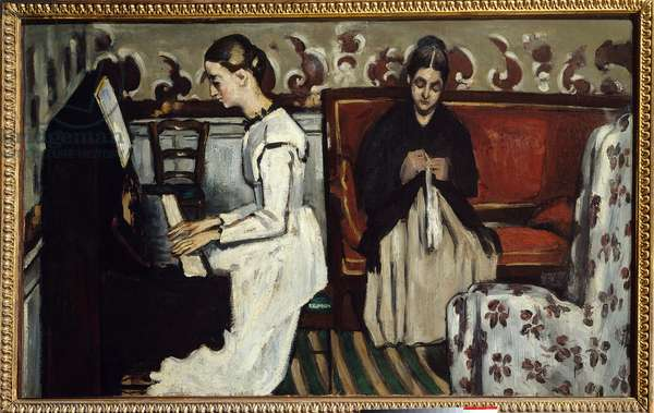 Young Girl at the Piano Painting by Paul Cezanne (1839-1906), 1868 Dim. 0.57 x 0.92 m. Saint Petersburg, Hermitage Museum