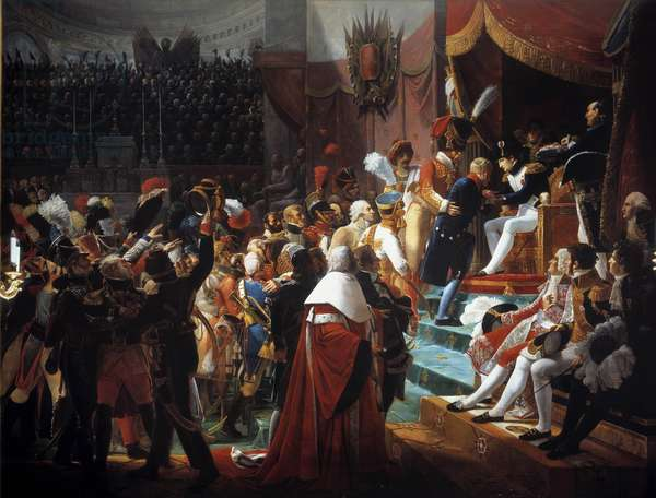 First distribution of the crosses of the Legion of Honour to the Church of the Invalides on July 14, 1804 Emperor Napoleon I (1769-1821) presented civil and military awards. Painting by Jean Baptiste Debret (1768-1848) 1812 Sun. 4,03 x 5,31 m  - The first distribution of the Crosses of the Legion of Honor in the Church of the Invalides, 14 July 1804. Emperor Napoleon I (1769-1821) gives the civilian and military awards. Painting by Jean Baptiste Debret (1768-1848), 1812. 4.03 x 5.31 m.