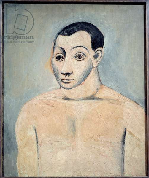 Self-portrait. oil on canvas. Dim: 0.65 x 0.54m. Painting by Pablo Picasso (1881-1973), 1906. Paris, Musee Picasso.