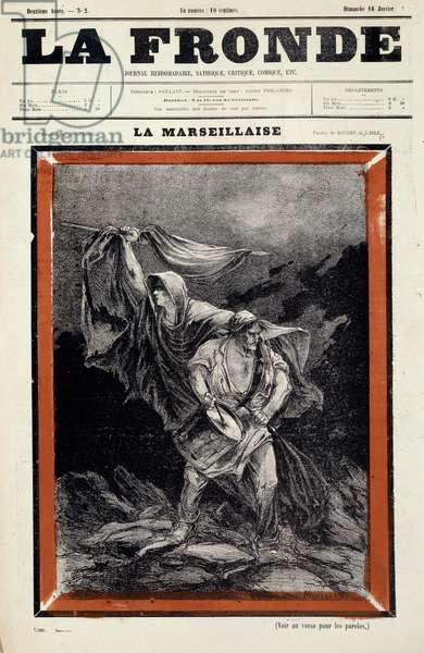 La marseillaise dessin appeared in the newspaper la sling. Engraving by Charles Auguste Dit Montbard Loye (1841-1905), 19th century. Private collection.