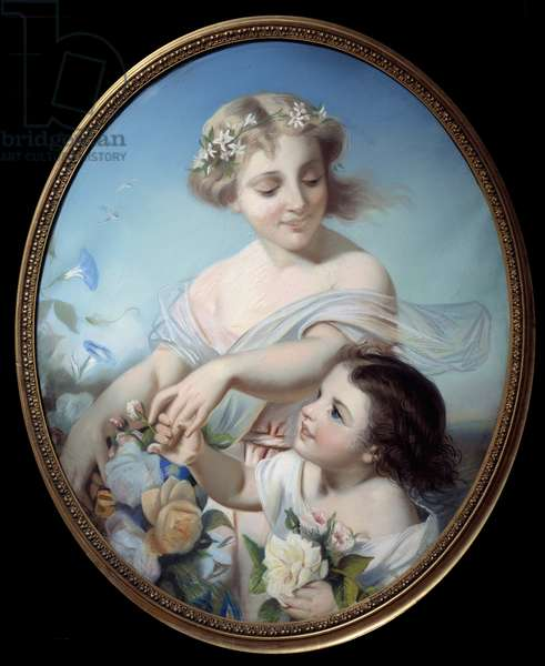 Allegory of the summer A mother and her granddaughter holding bouquets of flowers. Anonymous painting. 18th century Rouen, Musee des Beaux Arts