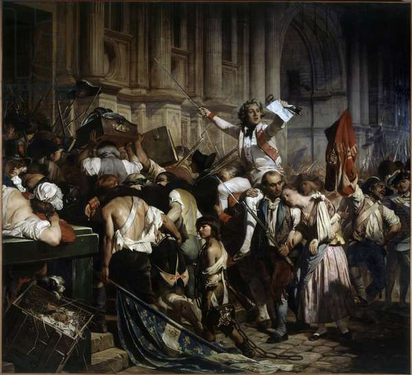 """French Revolution: """"The conquerors of the Bastille in front of the Hotel de Ville of Paris in 1789"""" by Hippolyte Delaroche (1797-1856) 1839"""