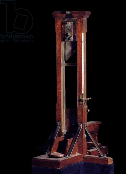 French Revolution: model of the guillotine, 18th century. Paris, Musee Carnavalet