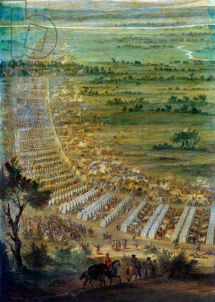 Capture of the town of Dole en Franche Comte by Louis XIV (1638-1715), the 6/06/1674 Detail representing the military camp. Painting by John Paul (known around 1675-1683). Sun 2,29x3,3 m Versailles, musee du chateau