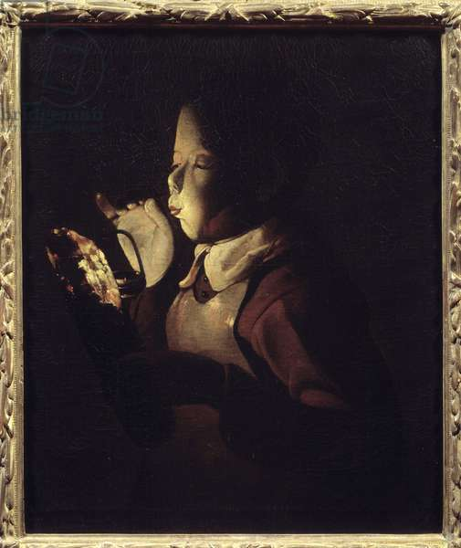 The blower has the lamp. Painting by Georges De La Tour (1593-1652), 1640. Oil on canvas. Dim: 0.61 X 0.51m. Dijon, Museum of Fine Arts