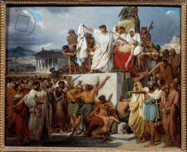The death of Jules Cesar Jules Cesar (Giulio Cesare or Julius Caesar, 100-44 BC) is stabbed (by Brutus among others probably below holding the dagger) during a conspiracy during the religious feast of the Ides de Mars. Painting by Joseph Court (1797-1865) 1827 Montpellier musee Fabre - The death of Julius Caesar (Giulio Cesare or Julius Caesar, 100-44 BC) stabbed by Brutus among others (probably, down holding dagger), the result of a conspiracy during the Ides of March, religious festivities. Painting by Joseph Court (1797-1865), 1827. Fabre Museum, Montpellier, France