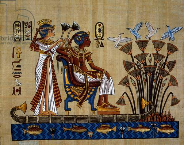 """Egyptian antiquitis: """""""" the pharaoh and his wife in the papyrus"""""""" Papyrus, New Empire, 18th dynasty. Private Collection"""
