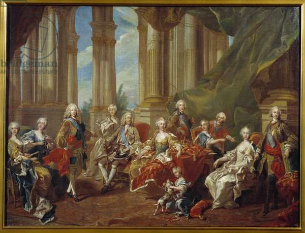 King Philip V (1683 - 1746) of Spain and his family. Sketch by Louis Michel Van Loo (1707-1771), 1745. Oil on canvas. Dim: 0,77 x 1,02m.  - Philip V (1683-1746), King of Spain and his family. Sketch by Louis Michel Van Loo (1707-1771), 1745. Oil on canvas. 0.77 x 1.02 m.