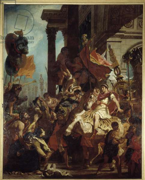 """The Justice of Trajan A widow whose son was killed seeks justice from Emperor Trajan (Marcus Ulpius Trajanus, 53-117) leaving for war. Illustration of the Puragatory in """""""" La Divina Commedia"""""""" (Divine Comeide) by Dante Alighieri (1265-1321) Painting by Eugene Delacroix (1798-1863) 1840 Sun. 4,95x3,96 m Rouen, Musee des Beaux Arts"""