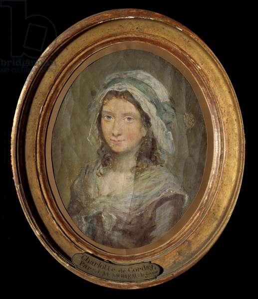 Portrait of Charlotte Corday (1768-1793) Painting by Moreau Le Jeune (1741-1814) 1793. Versailles, Lambinet museum