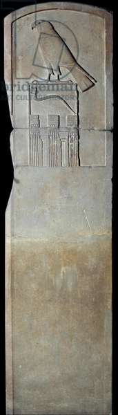 Egyptian antiquite: limestone stele of the Serpent king with representation of the god Horus. From Abydos. Thinitis period (ca. 3100-2700 BC). Sun 1,4x0,6 m Paris, Musee du Louvre
